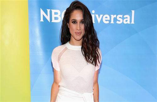 American Actress Meghan Markle in White Dress Wallpaper